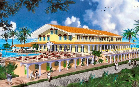 Artist rendering of the resort's 60,000 sq. ft. clubhouse with a brand-name spa, fitness center, virtual reality golf room, fine dining restaurant and much more.
